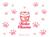 Neko Charm Logo lucky charms lucky cat cat illustration design icon branding logo vector