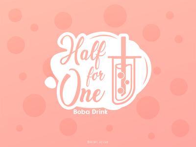 Half for One - Boba shop Logo boba drink milk tea boba tea boba illustration design icon branding logo vector