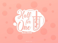 Half for One - Boba shop Logo boba drink milk tea boba tea boba illustration design icon branding logo vector