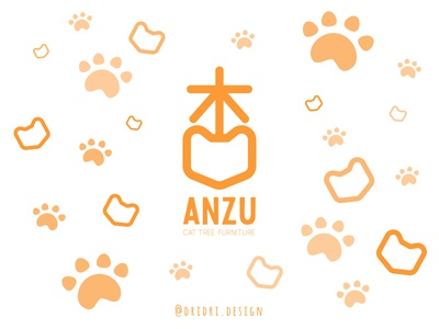 Anzu - Cat Tree Furniture logo cat tree cats kanji chinese character illustration design icon branding logo vector