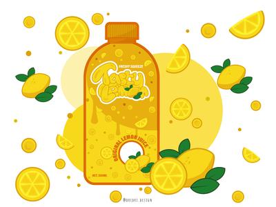 Tasty Lemon drink packaging lemons lemonade lemon packaging packaging design illustration typography branding logo