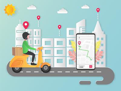 Delivery order ui website order delivery design vector illustration