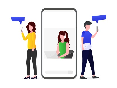 Customer service is receiving customer complaints via smartphone phone illustration customer service app website vector ui