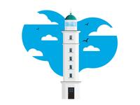 Illustration of a lighthouse in Odessa region