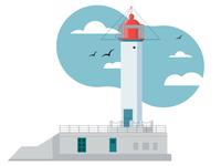 Illustration of the main Odessa lighthouse. Vorontsov lighthouse