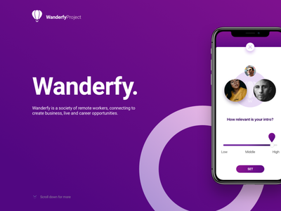 Professional connections Mobile App: Wanderfy interface iphone ios application business connection contacts uxui ui design app mobile ux ui