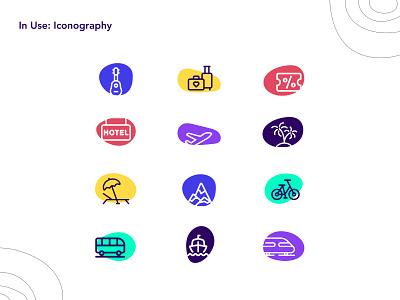 Mexticket brand: iconography & branding application iconography icon design icons stationery brand identity travel portal travelapp travel mexico brand
