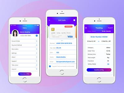 Delta App Screens details track screen menu order card ios delivery app delta