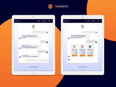 Max Data User's side campaign dialogue web view chatbot dashboard ui cryptocurrency