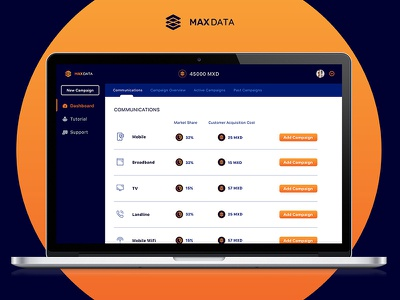 Dashboard MD web view app cryptocurrency data campaign dashboard ui