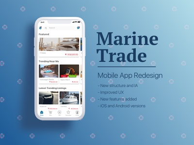 iOS App Redesign: Yacht Retail trade sell yachts iphonex redesign app ios