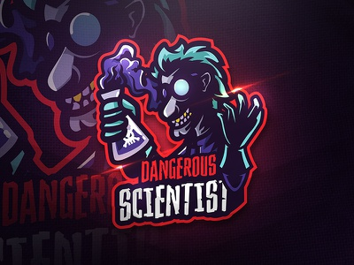 Dangerous Scientist - Mascot & Esport Logo potion unique squad game glass sport lab esport mascot dangerous logo scientist