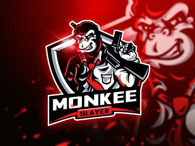 Monkee Slayer - Mascot & Esport Logo weapon unique squad game ak47 sport animal esport mascot gun logo monkey