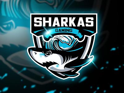 Sharkas Gaming - Mascot & Esport logo weapon unique squad game waves sport animal esport mascot fish logo shark