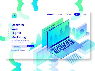 Digital Marketing - Banner & Landing Page networking landing page website development illustration banner webapp laptop digital marketing clean landing page