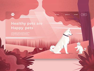 Healthy Pets - Banner & Landing Page grain gradient landing garden website development illustration banner webapp dog cat pets landing page