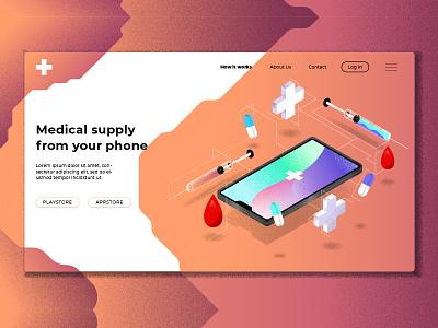 Health & Medical - Banner & Landing Page drug blood health medical syringe phone webapp banner illustration website landing page launch