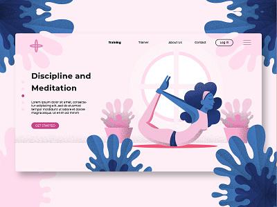 Yoga & Meditation - Banner & Landing Page trainer sport discipline meditation yoga webapp banner illustration website page process landing page