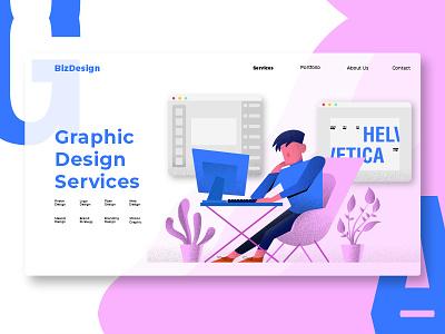 Graphic Design - Banner & Landing Page grain workdesk designer graphic webapp strategy banner illustration development website page process