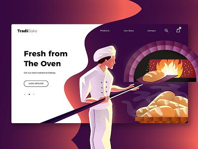 Bakery - Banner & Landing Page design illustration ux ui webapp banner landing page stove oven bread cook chef bakery