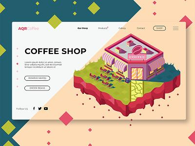 Coffee Shop - Banner & Landing Page ui ux polygon isometric landingpage store coffee shop webapp strategy icon banner illustration