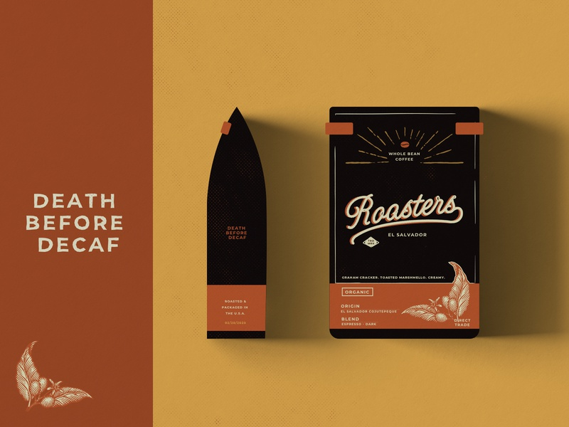Roasters Coffee Bag Packaging branding illustration coffee