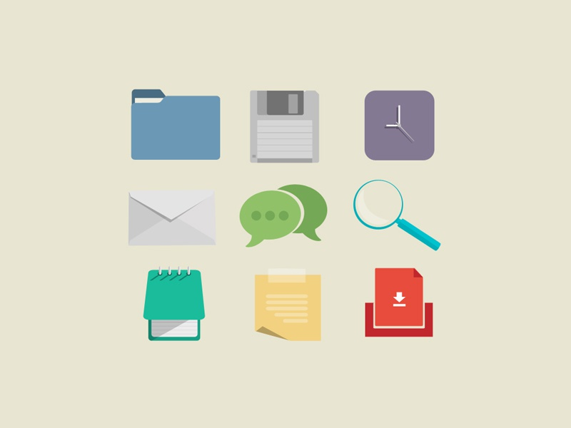 Flats envelope mail free freebie psd download colorful email icon photoshop flat notepad sticky post-it file folder floppy disc clock shadow magnifying glass chat bubble box
