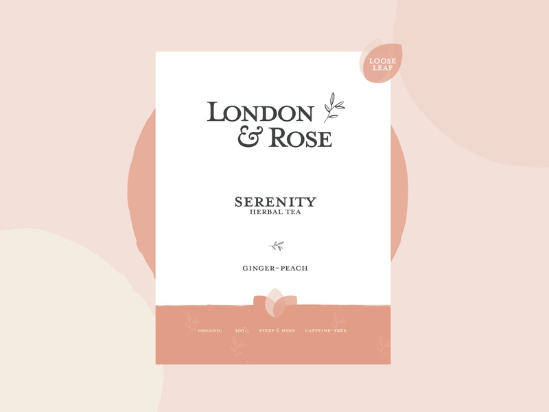 London & Rose Tea Company feminine tea label design vector packaging logodesign logotype logo brand identity brand design branding