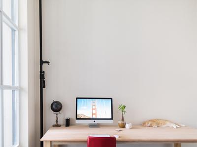 My current workspace workspace office interior desk minimalistic imac cat bright display globe plant