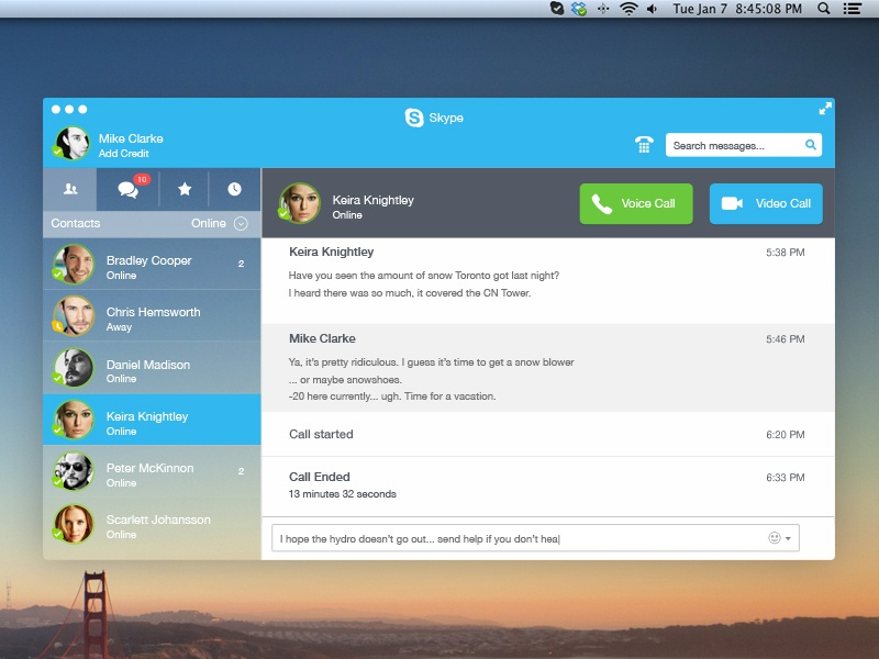 Skype Redesign skype ui ux app mac ios 7 clean san francisco redesign psd