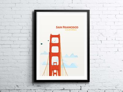San Francisco Screen Print golden gate golden gate san francisco bridge illustration california screen print poster brick wall