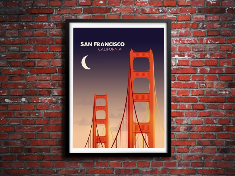 San Francisco Night golden gate golden gate san francisco bridge illustration california screen print poster brick wall