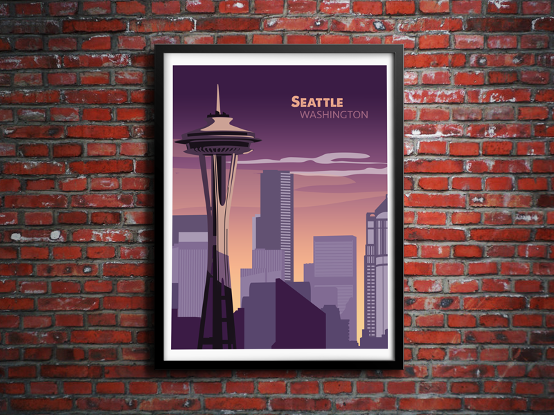 Seattle Sunset seattle skyline washington vector illustration sunset brick illustrator photoshop
