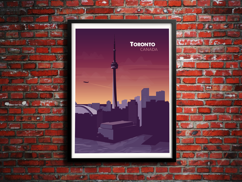 Toronto Sunset toronto ontario canada skyline vector illustration sunrise brick illustrator photoshop water cn tower