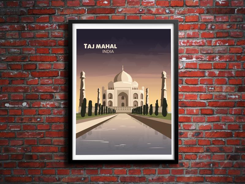 Taj Mahal Sunset india skyline vector illustration sunrise brick illustrator photoshop water taj mahal