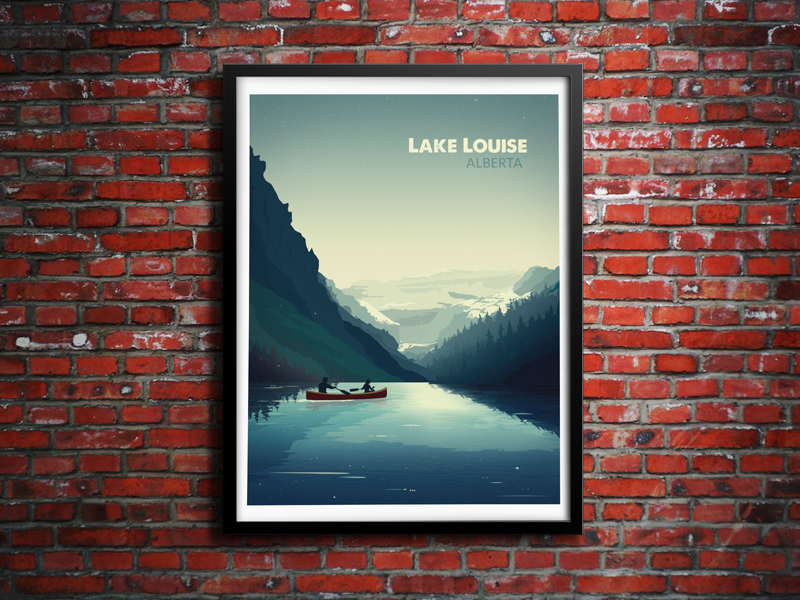 Lake Louise brick wall alberta canada lake louise psd vector mountains water landscape canoe illustration