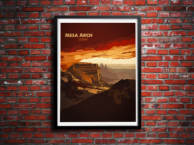 Mesa Arch mesa arch utah psd vector mountains desert landscape moab illustration gif animation