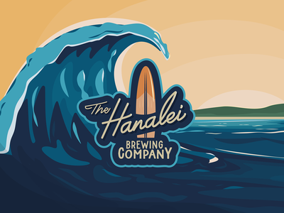 Brewery label and branding brewery alcohol beer surfing surfboard ocean label typography vector design logo branding illustration