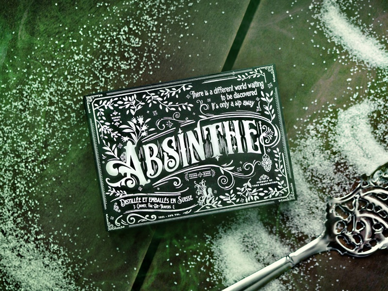 Absinthe Playing Cards absinthe alcohol prohibition liquor playing cards typography script font branding packaging logo vintage