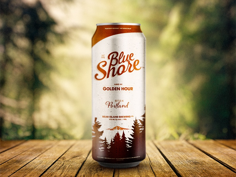 Blue Shore Beer psd beer alcohol label branding logo trees mountain can forest