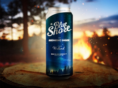 Midnight Ember beer alcohol label branding logo trees mountain can forest fire ember psd