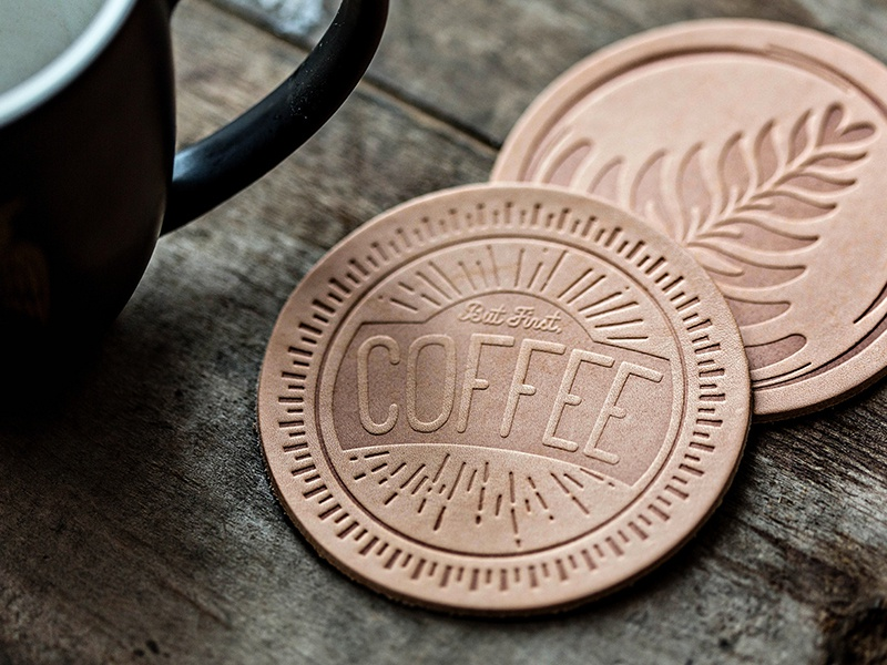 Coffee Coasters brand latte cup coaster design leather logo coffee