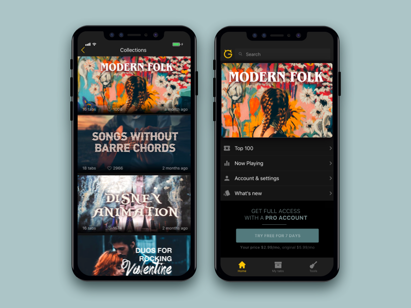 Collections in an iOS app menu pro marketing button dark mode app design app music ultimate guitar collection ux ui