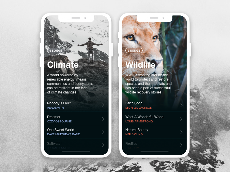 Earth Day climate wildlife list playlist earth world nature ui interface app design music app