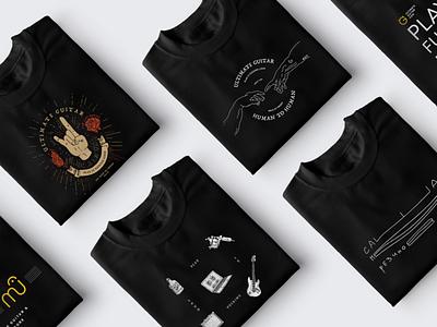 Rock-n-Roll prints identity brand fashion design rose guitar human rock illustration black rock-n-roll t-shirt