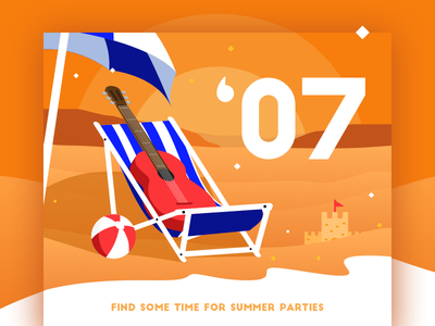 JULY - Find some time for summer parties music calendar hot sea sand relax time beach july guitar party summer