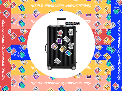 Travel Kit | Suitcase Stickers branding plane suitcase nature sea palm beach ice cream lion animal adventure sticker kit identity travel