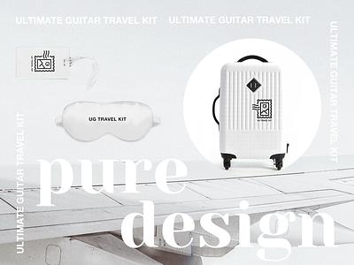 Travel Kit | Pure Design tag branding identity sleep bag luggage sticker adventure suitcase minimalistic pure travel