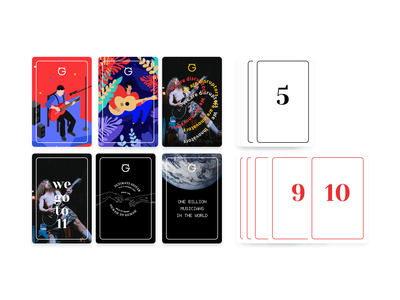 Rating Cards management task rating guitarist guitar music typography identity graphic card illustration