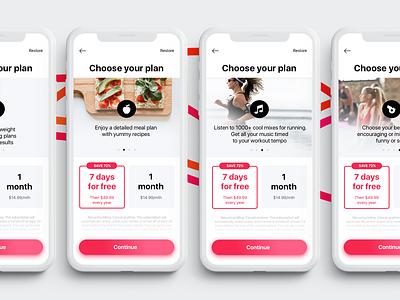 Fitness App | Pricing Plans ux ui run music coach food plan button sale premium sport woman heath fitness app free pricing